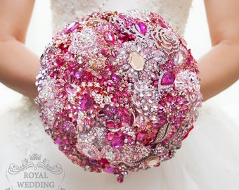 Magenta and Hot Pink Brooch Bouquet Wedding Bouquet Bridal Bouquet Bridesmaids Bouquet Magenta Bouquet Hot Pink and Fuchsia Broach Bouquet