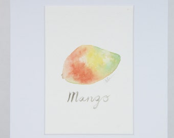 Mango in watercolor matted 8x10