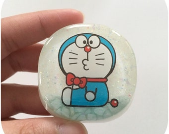 Blue Robot Cat - Resin Bag Charm/Keychain