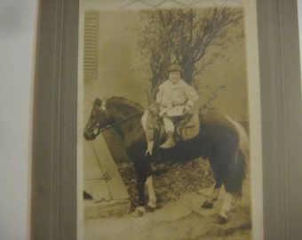 Boy on His Pony, Cabinet Card Photograph, 1890s
