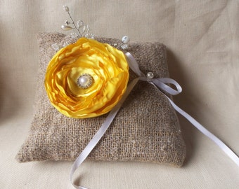 Wedding ring pillows in yellow