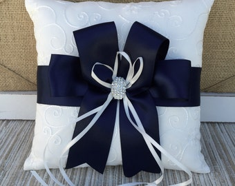 White/Ivory Ring Bearer Pillow NAVY BLUE, Ring Pillow - Pearl Rhinestone Accent