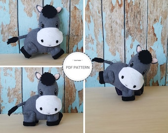 Cute Donkey Felt PDF Sewing Pattern