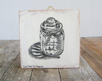 Miniature painting - Mason jar print, print on wood, Home decor, Wood signs, Kitchen decor, Retro decor, Hostess gift