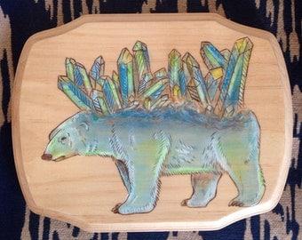 Polar bear art, bear art, bear illustration, crystal art, raw crystal, polar bear drawing, polar bear illustration