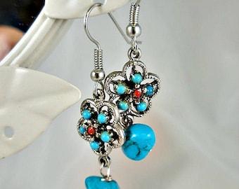 Turquoise Silver Dangle Earrings