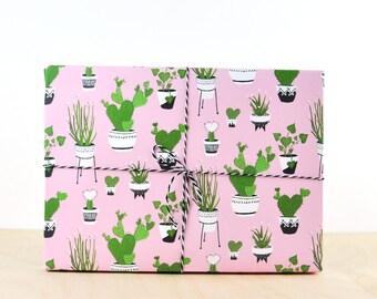 Cactus Gift Wrap Pink, gift wrap paper, designer wrapping paper, mini cactus, flowering cactus, types of cactus plants, nopal cactus