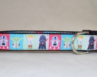 Star Wars Dog Collar, Yoda Dog Collar, Darth Vader Dog Collar, Luke Skywalker Dog Collar, R2 D2 Dog Collar, 1 inch wide, 3/4 inch wide