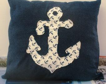 Pillow Navy Blue and white applique anchor