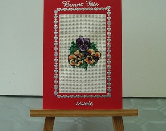 Embroidered card happy birthday Grandma