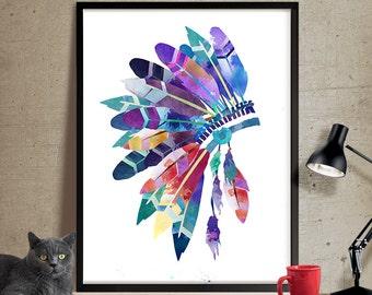 Feather Headdress Wall Art, Headdress Painting , Feathers Print, Watercolor Headdress Art Print, Headdress Poster ,Feathers Poster(167)