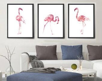 Flamingo Watercolor Painting, Flamingo Art Print Set,  Flamingo Print, Nursery Room Decor Watercolor, Wall Art, Watercolor Painting (282)