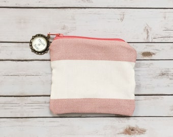 Pink Striped Coin Purse / Zipper Pouch