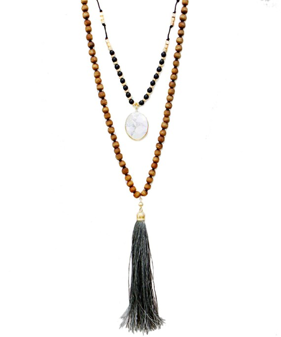 Boho Long  Suede Tassel Necklace Coachella Chic