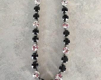 Black and crystal swarovski crystal necklace