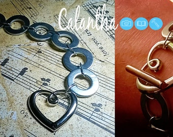 Washer Bracelet | Heart Charm | T-Bar | Charm | Handstamped | UK