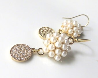 Fancy Gold Pearl Earrings, Pearl Clusters with Rhinestone Dangle, White Pearl Dangle Earrings, For the Bride,  Pearl Wedding Jewelry
