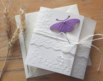 Handmade purple butterfly wedding invitation/White lace invite/Christening invitation/Baby shower invitation/Bridal shower invitation