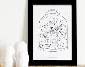 """Poster """"Winter dome"""" - Black & White drawing - Art - Wall's decoration - kids"""
