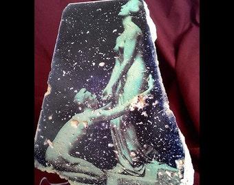 Sculpture love natural stone,Tumbled Travertine print,figure print,home decor,sculpture print on stone
