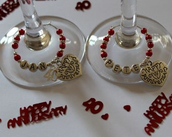 Ruby wedding anniversary gift - wine glass charms - personalised - 40 years