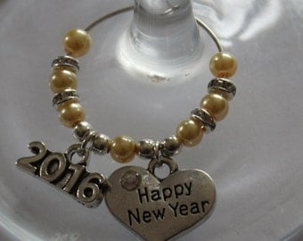 New Years Eve Party luxury wine glass charms / keepsake