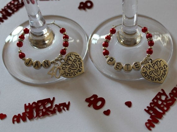 Ruby Wedding Anniversary Gifts: Ruby Wedding Anniversary Gift Wine Glass Charms