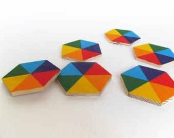 "Rainbow Wooden Blocks - Rainbow Wood Hexagon - Organic Wooden Toddler Toys - Waldorf Toy - Play Blocks - Baby Blocks -  2.75"" set of SIX"