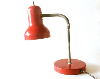 Vintage Red Mid Century Gooseneck Desk Lamp