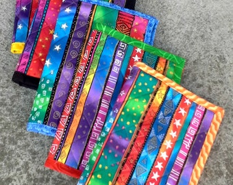 Quilted Notebook Cover - Brightly Colored - Reuseable - Ready to Ship