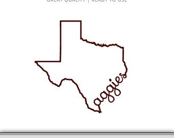Texas A&M Outline Graphic | Aggies | DXF | SVG | 7 Files Total | Digital Download | Ready to Use!