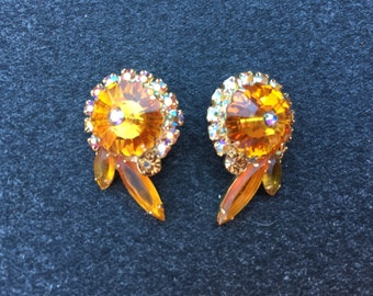 Juliana D&E Topaz Margarita with Peach/Topaz AB Rhinestone Earrings 0674