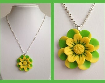 Green and Yellow Floral Flower Necklace. Zingy Spring or Summer Pendant.