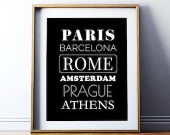 Art Digital Print Poster European Cities Printable Art International Cities Typography Poster Printable Art Office Decor *Digital Download*
