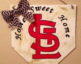Home sweet home sign, St. Louis Cardinals sign, home plate sign, baseball home plate sign , st louis cardinals decor,  stl cardinals