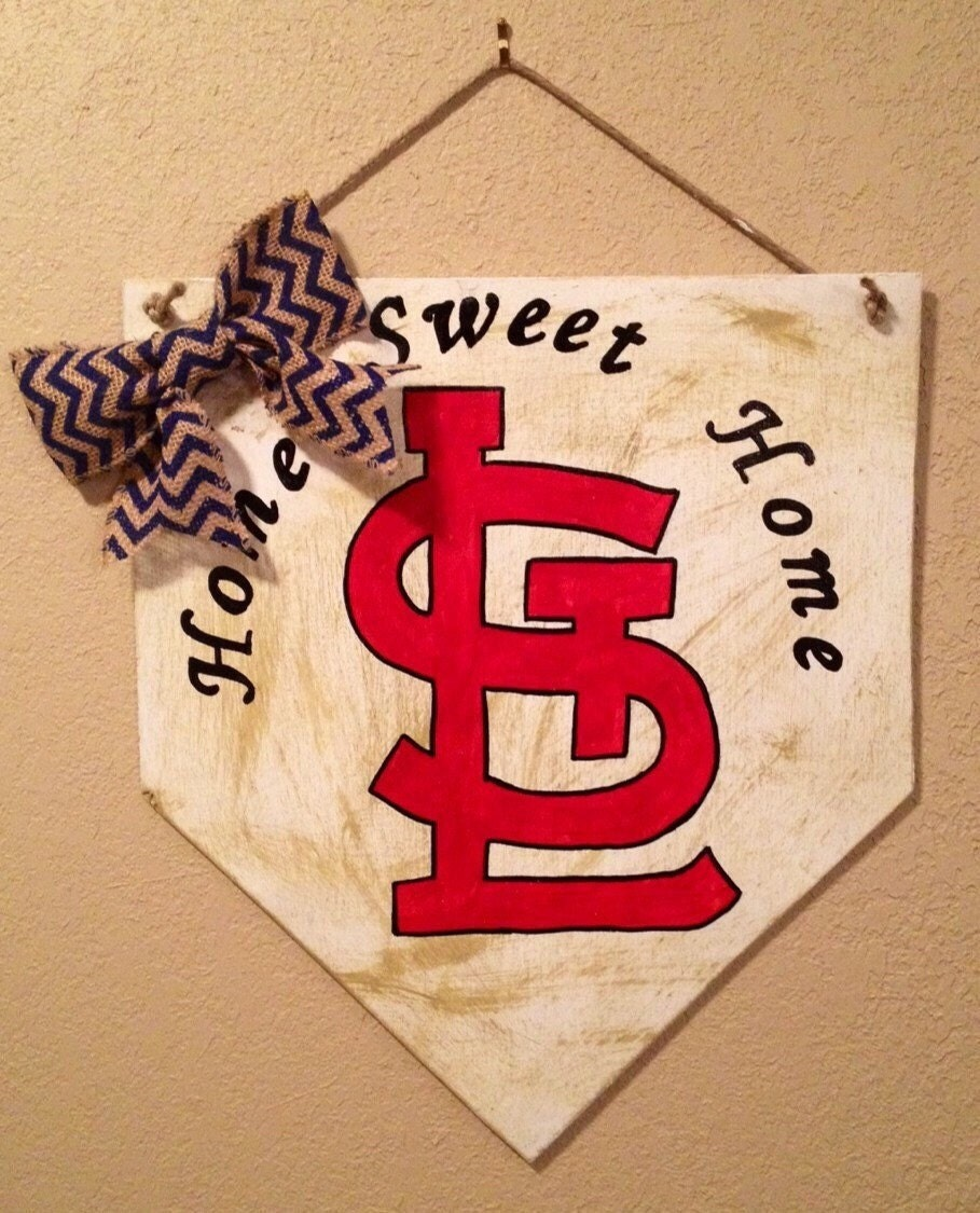 Home Sweet Home Baseball Home Plate Sign With Arched Letters And Stl Logo St Louis