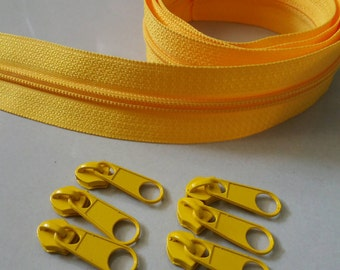 3 Yards  Zipper #5 with Free 6 Pulls, Yellow, Zipper by the Yard, Zipper # 5, Zipper by the Yard.