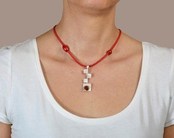 Red coral pendant necklace, silver square necklace, coral necklace, acai jewelry, red cord necklace, adjustable necklace, geometric pendant