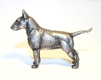 Bull terrier - miniature statuette dog out of a tin pewter,   figurine