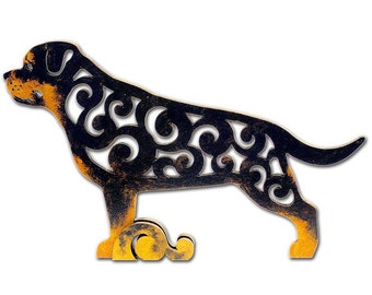 Rottweiler figurine, statuette made of wood, hand-painted with acrylic and metallic paint