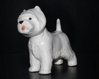 West Highland White Terrier Westie  dog ceramic figurine handmade statue, statuette