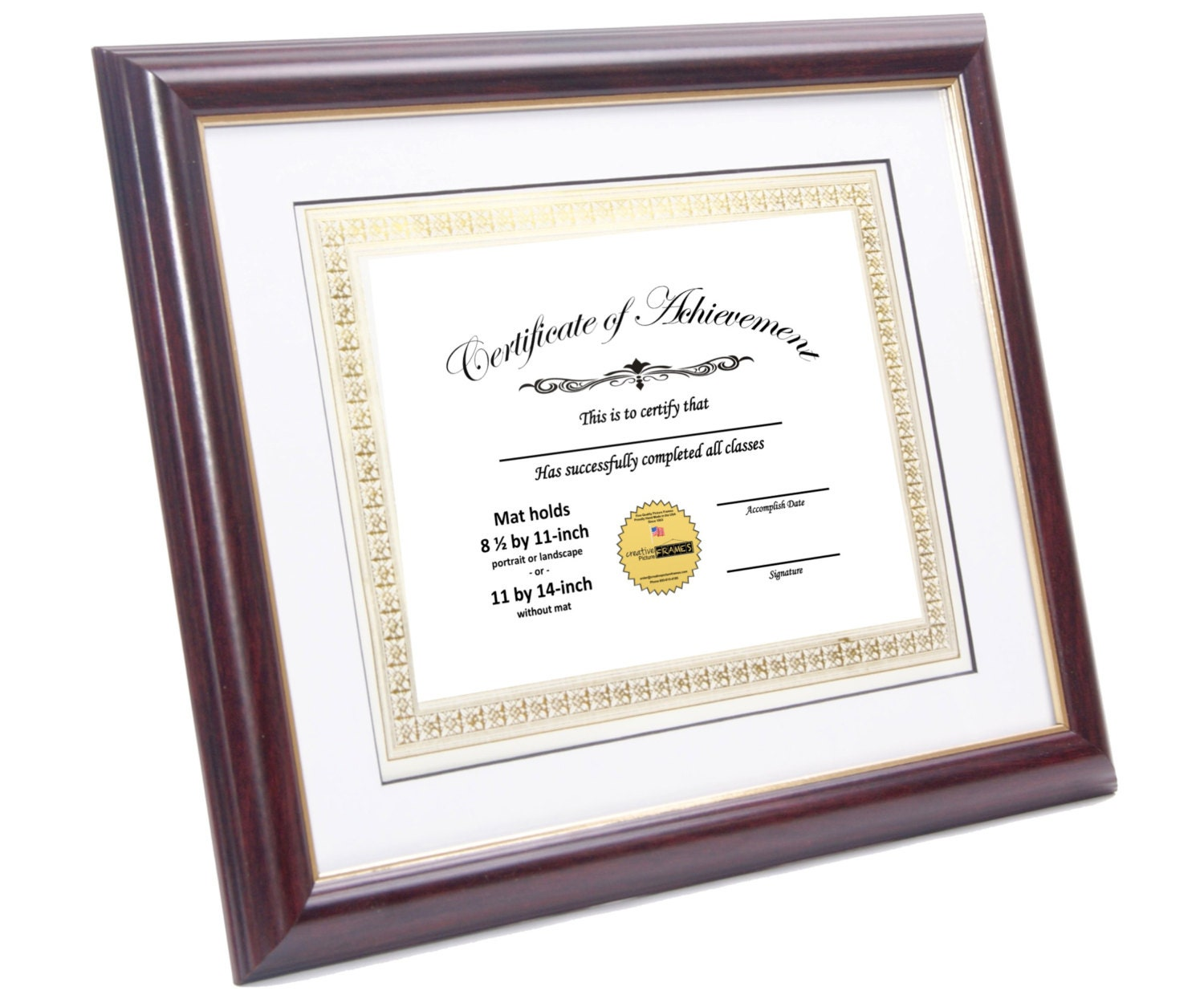 Certiicate Frame Mahogany W Gold Displays 8 5 By 11 Inch W