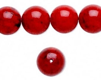 Red Bead, Riverstone Bead, Round 12mm, 10 Beads, D838