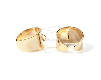 RNG-007-G/2pcs/Band Ring/20mm x 23mm/Adjustable Ring/Gold Plated Over Brass