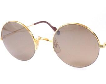 2317a153b Cartier Mayfair vintage sunglasses / round shape / half rimless sunglasses  / luxury eyewear made in