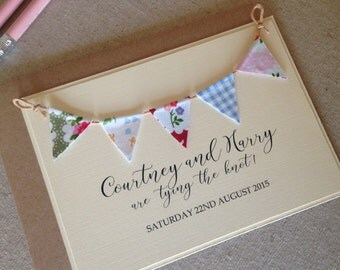 Fabric Bunting  Save the Date - Wedding Save the Date - Rustic Wedding - Wedding Announcement