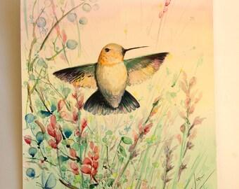 Flying Bird painting Original watercolor hummingbird painting of bird watercolor painting Flying hummingbird Original art watercolor artwork