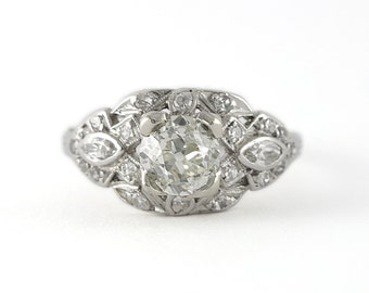 Vintage Edwardian 1.02 carat Old European cut Diamond and Platinum Engagement ring. Circa 1910.