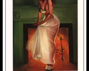 """Gil Elvgren Vintage Pinup Illustration """"Sheer Delight 1953"""" Sexy Pinup Mature Wall Art Deco 1995 Book Print 9 3/4"""" x 14"""""""