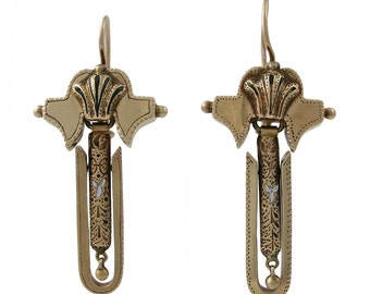 Victorian 14K Gold Dangling Pierced Earrings